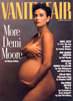 The Vanity Fair magazine cover from August 1991, depicting a pregnant Demi Moore, which was voted the second best magazine cover from the last 40 years.:livedoor ニュース - 最優秀雑誌表紙にレノンの裸写真=D・ムーアの妊婦ヌードが2位